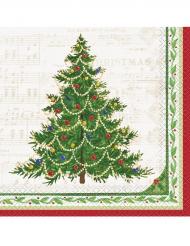 16 Serviettes en papier Arbre de Noël 33 x 33 cm