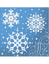 16 Serviettes en papier flocons de Noël 33 x 33 cm