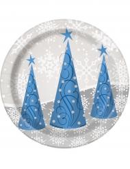 8 Petites assiettes flocons et renne de Noël 18 cm