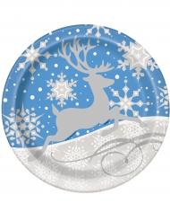 8 Assiettes flocons et renne de Noël 23 cm