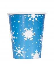8 Gobelets en carton flocons et renne de Noël 270 ml