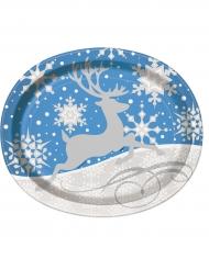 8 Grandes assiettes ovales flocons et renne de Noël 25 x 31 cm