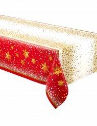 Nappe en plastique Noël rouge et or 137 x 213 cm