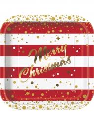 8 Assiettes en carton Noël rouge et or 23 cm