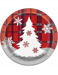8 Petites assiettes en carton Chalet de Noël 18 cm