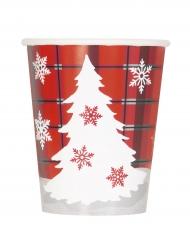 8 Gobelets en carton Chalet de Noël 270 ml