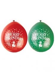 10 Ballons latex vert et rouge Merry Christmas 23 cm