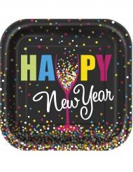 10 Petites assiettes carrées Happy new year confettis 18 cm