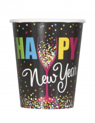 8 Gobelets en carton Happy new year confettis 270 ml