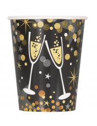 8 Gobelets en carton Happy new year scintillant 270 ml