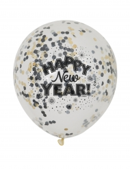 6 Ballons confettis Happy new year 31 cm
