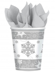 8 Gobelets en carton flocons de neige 266 ml