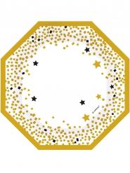 6 Assiettes octogonales étoiles noires et dorées 18 cm