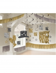 Kit de décoration de salle happy new year noir/or/argent