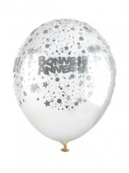 6 Ballons transparents Bonne année argent 30 cm