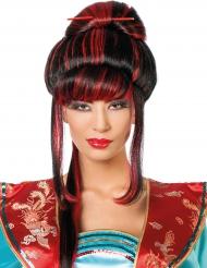 Perruque chinoise rouge et noire femme