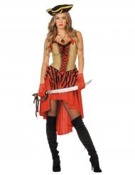 Déguisement pirate rouge à corsage femme