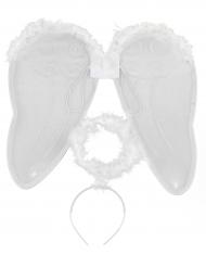 Kit ange avec ailes et auréole adulte