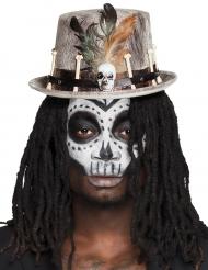 Chapeau haut de forme vaudou gris adulte
