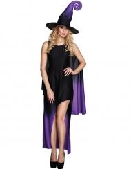 Déguisement sorcière noire dégradé violet femme Halloween