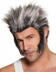 Perruque avec pattes loup-garou grise adulte
