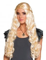 Perruque longue blonde avec petites tresses femme