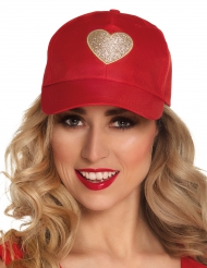 Casquette rouge coeur adulte