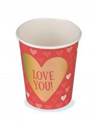 6 Gobelets en carton Love you 25 cl