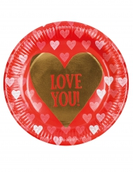 6 Assiettes en carton Love you 23 cm