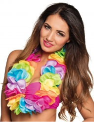 Collier Hawaï multicolore pastels luxe satin
