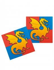 12 Serviettes en papier chevaliers 33 cm
