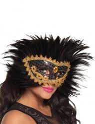 Loup vénitien avec plumes noires femme