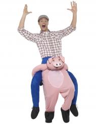 Déguisement homme à dos de cochon adulte