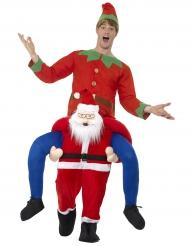 Déguisement homme à dos de Père Noël rouge adulte