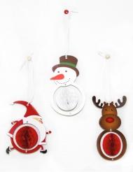 3 Décorations alvéolées 12 cm Noël