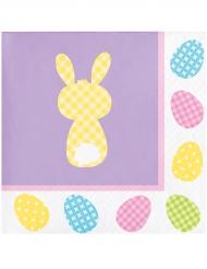 16 Petites serviettes en papier violettes lapins 25 x 25 cm