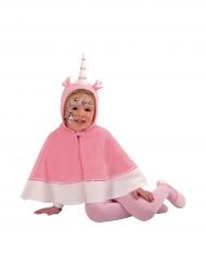 Cape licorne avec capuche rose fille