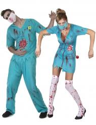 Déguisement de couple médecin zombie Halloween