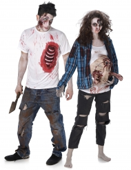 Déguisement de couple zombie trash Halloween