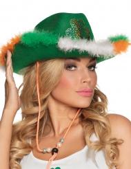 Chapeau cowboy vert avec fourrure et trèfle adulte Saint Patrick