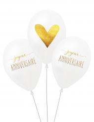 3 Ballons latex biodégradable Anniversaire 27 cm