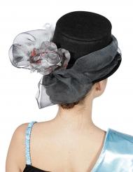 Chapeau haut de forme ruban et fleur argentée adulte