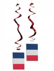 Lot de 6 suspensions métallisées drapeau France