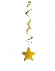 6 suspensions métallisées ignifugées étoile or 80 cm