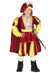 Déguisement roi velours rouge et jaune garçon