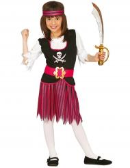 Déguisement pirate rayée rose et noire fille