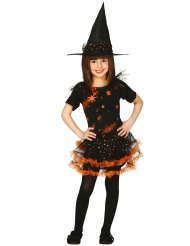 Déguisement sorcière étoilée noire et orange fille Halloween