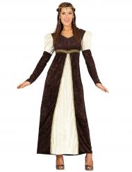 Déguisement princesse médiévale marron femme