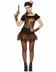Déguisement squelette noir et cuivre femme Steampunk