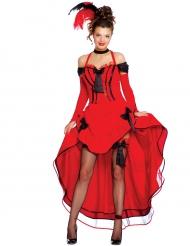 Déguisement cancan rouge avec noeuds noirs femme